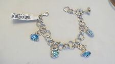 "Hagit Gorali Sterling Reflections Cultured Pearl Charm Bracelet Fits 8"" TEAL"