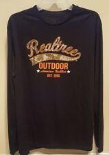 Realtree Men Camo Long Sleeve Tee T-Shirt Pullover Top Black Orange New