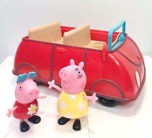 Peppa Pig's Talking Musical Red Convertible Car 2003 Jazwares & 2 Pig Figures