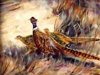 "Original Pheasant Bird Hunting Oil Painting on Canvas Signed 18"" X 24"" signed"