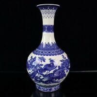 28.5 CM China Blue And White porcelain Painting Flowers and birds Decor big Vase