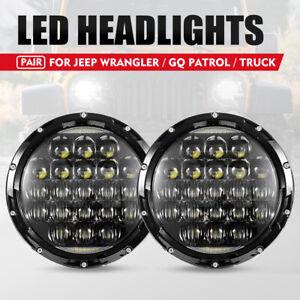 2x 7inch LED Headlights Insert Hi-Lo Beam DRL for Truck Patrol GQ Jeep Wrangler