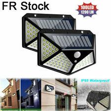 2Pcs 100 LED lampe solaire PIR mouvement actionné lampe de sécurité extérieure