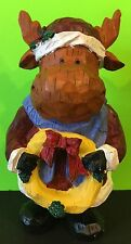 Christmas Moose Holding A Holiday Wreath Figurine Collectible