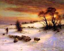 Herding sheep in Winter by J Farquharson - Scotland Sunset Home 8x10 Print 1121