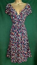 EAST Uk 16 Navy Blue Red Ditsy Floral Summer Shift Retro Peasant Midi Tea Dress