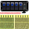 6 Gang Car Boat Marine Rocker Switch Panel Dual USB LED Circuit Breaker Voltage