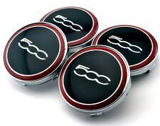 4x FIAT 500 Logo Black/ Red 60mm Wheel Centre Caps Hub Alloy Chrome Brand New