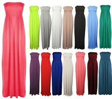 New Womens Sleeveless Boobtube Bandeau Maxi Ladies Sheering Long Dress Size 6-26