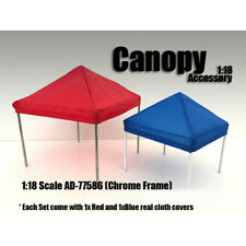 CANOPY ACCESSORY BLUE,RED & 1 CHROME FRAME 1:18 SCALE BY AMERICAN DIORAMA 77586