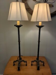 Visual Comfort & Co Collection set of 2 Aged iron candlestick top lamps