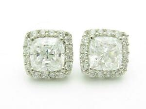 Platinum Sterling Silver White Sapphire Asscher Cut Halo Cushion Stud Earrings