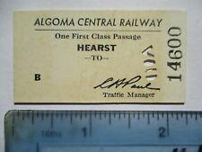 1960s Algoma Central Railway Hearst Ontario Canada RR Sample Ticket Vintage