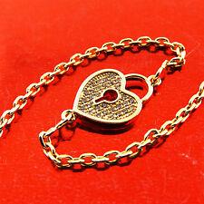 BRACELET BANGLE 18K YELLOW G/F GOLD DIAMOND SIMULATED PADLOCK DESIGN FS3A632