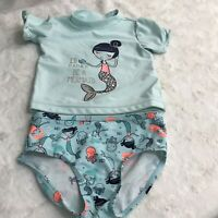 Carter's  just one you baby girl Swimwear Set Mermaid Print, Size 18 Months, EUC