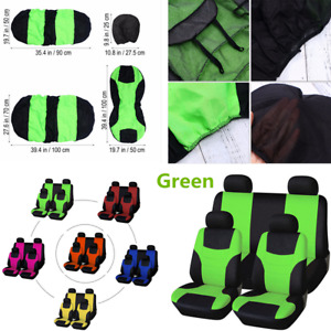 8Pcs/set 5-Seat Car Seat Covers Front+Rear Green Cloth For Interior Accessories