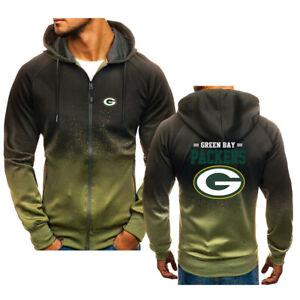 Green Bay Packers Men Full-zip Hoodie Gradient Inkjet Hooded Jacket Sweatshirt