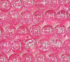 200 Pink Crackle Glass Beads 6mm  Jewellery Making Crafts J04926