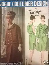 VINTAGE anni'60 VOGUE Couturier 1438 GALITZINE Cappotto Vestito Sewing Pattern B34