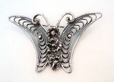 Vintage BEAU STERLING Silver BUTTERFLY Brooch with Flowers - Estate Find