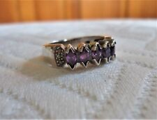 Vintage 925 Sterling Silver 5 Marquise Cut Cocktail Amethyst Ring Sz 6