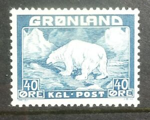 Greenland 1946 40 ore blue, mint never hinged