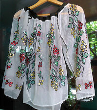 old vintage folk sequins embroidered Romanian traditional blouse handmade motif