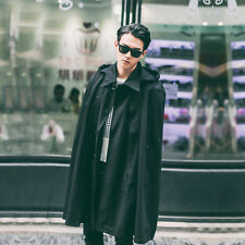 Cool Men's Special Loose Long Gothic Hooded Casual Street Coat Poncho Cape Black