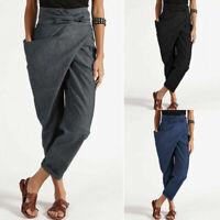 Women High Waist Solid Plain Long Pants Asymmetrical Harem Pants Trousers Plus