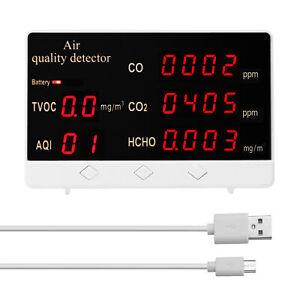 Digital Kohlendioxid Messgerät CO CO2 HCHO TVOC-Detektor Luftqualität DHL K9P4