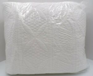 Pottery Barn Hanna Cotton Linen Whole Cloth Soft Quilt King Cal King White 9733E