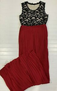 Pink Blush Maternity Ball Gown Pleated Lace Dress Holiday Red Black Size Small