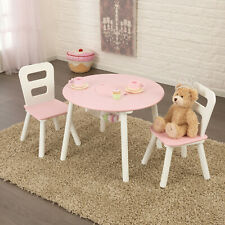 Kidkraft Pink Round Storage table and Chair Set | Kids Wooden Play Table Chairs