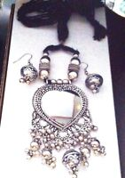 Tribal Costume Jewelry NECKLACE EARRING Silver Plated Vintage Gypsy Belly Dance