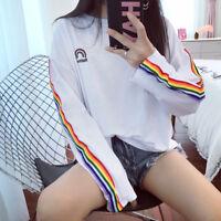 Girl ulzzang Cute Rainbow Stripe Long Sleeve Student Oversized T-shirt Crop Top