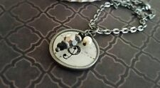 music note necklace, musical theme, black, white, charm picture pendant, teacher