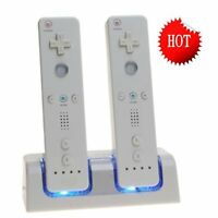 Dual Remote Charging Dock Station and 2 Rechargeable Batteries For Wii White USA