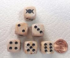 DICE - *TRIPLE MOONS*- SET OF SIX ON MARBLE IVORY w/BLACK MOONS AS #1 & BLK PIPS