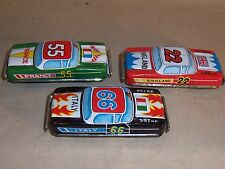 Vintage Tin Litho Lithograph Friction Car Lot England Italy France Madein Japan