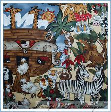 BonEful Fabric FQ Cotton Quilt Noahs Ark Animal Scenic Baby Nursery Monkey Zebra