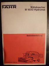 Fahr Mähdrescher M1600 Hydromat Bedienungsanleitung