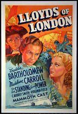 LLOYD'S OF LONDON TYRONE POWER STONE LITHO 1936 1-SHEET STYLE B
