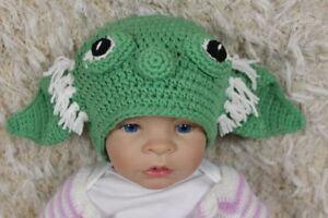 Handmade Knit Crochet Hat Baby Hat Child Hat Star Wars Hat Master Yoda Hat Green