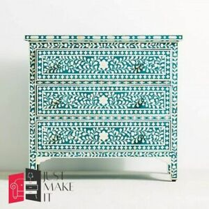 Bone Inlay Chest of Drawer Green Floral (MADE TO ORDER)