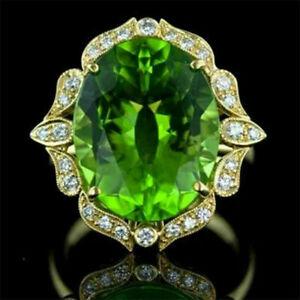 Elegant 925 Silver Rings Women Emerald Wedding Engagement Ring Jewelry Size 9