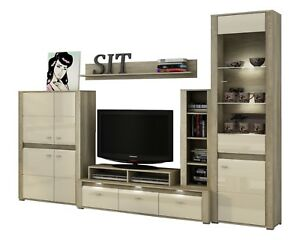 Living room furniture set display unit floating shelf TV stand cabinet LED light