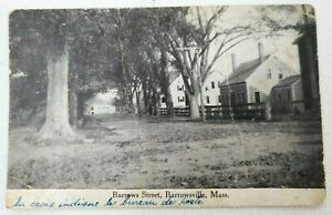 Vintage Postcard BARROWS Street BARROWSVILLE MASSACHUSSETTS Mass MA Post Office