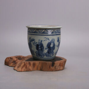 """4.1"""" Collect China Jingdezhen Blue and White Porcelain The Eight Immortals Jar"""