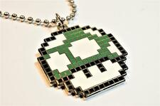 Super Mario World Bros 1UP GREEN MUSHROOM Pixel SNES Nintendo Pendant Necklace