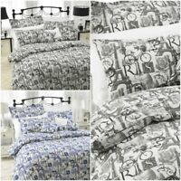 LUXURY PRINT EIFFEL TOWER PARIS DUVET COVER SET QUILT BEDDING WITH PILLOWCASE